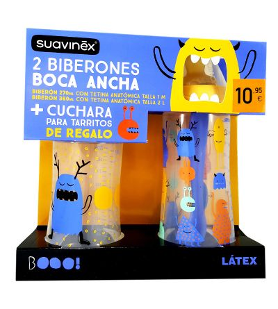 Biberón Suavinex 270 ml + 360 ml + cuchara para tarritos