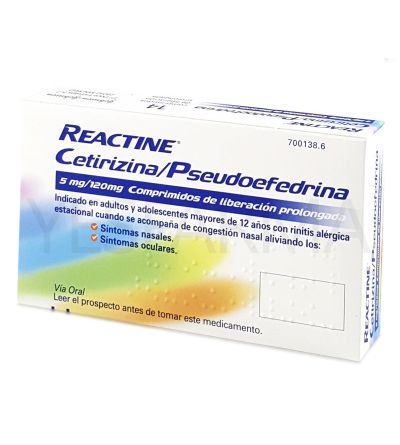 Reactine plus 14 comprimidos