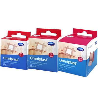 Esparadrapo hipoalergico Omniplast tejido resistente 5 m x 2,50 cm
