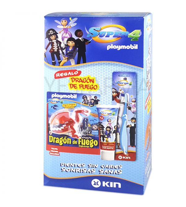 FLUOR KIN PACK SUPER 4 Playmobil PASTA + CEPILLO + Playmobil