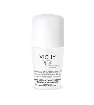 Vichy desodorante desodorante pele muito sensível roll on é antritranspirante e adequado para peles sensíveis.