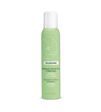 El desodorante en spray Klorane a la altea blanca es sin aluminio, no mancha la ropa y deja la piel con un agradable perfume.