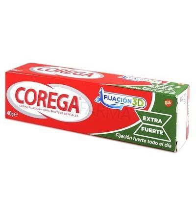 Corega extra fuerte adhesivo prótesis dental es un pegamento para fijar la dentadura postiza de Corega.
