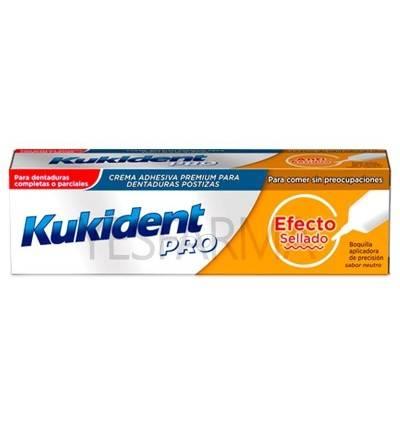 Kukident pro efeito selado é uma cola para dentaduras e dentes falsos, o que impede a entrada de alimentos.