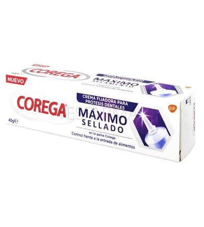 A cola dental Max Sealed Corega mantém as próteses dentárias fixas.