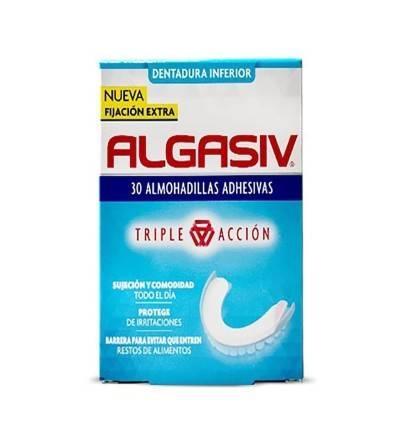 La almohadilla adhesiva inferior Algasiv para dentadura postiza, fija las prótesis dentales.