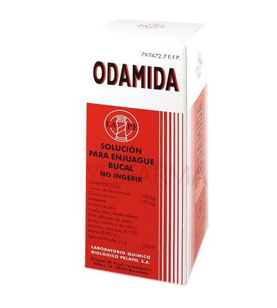 Odamida líquida 135 ml es un enjuague bucal o colutorio específico para la limpieza de dientes contra caries y placa.