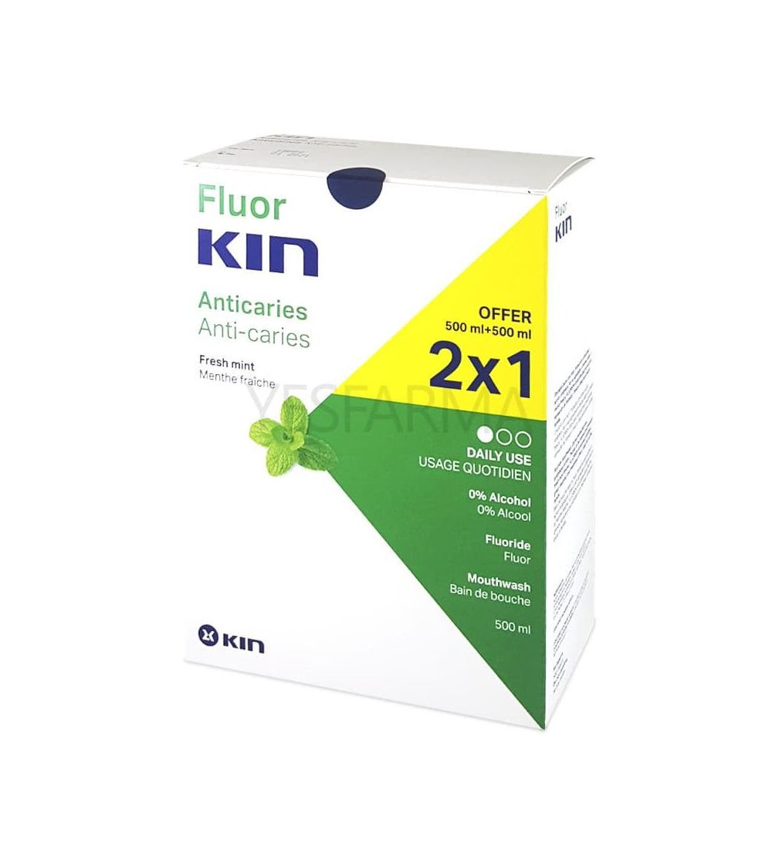 Fluor Kin pack anti Caries 2x1 500ml es un enjuague bucal o colutorio específico para eliminar caries, sarro y placa bacteriana.