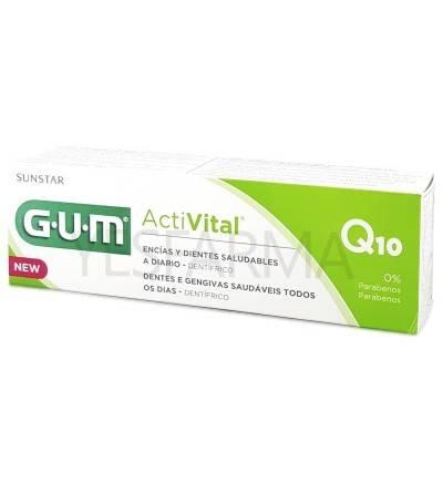 Gum activital pasta de dientes 75ml es un dentífrico de uso diario que protege de caries, mal aliento y placa.