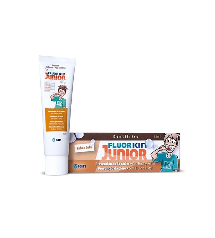 Fluor Kin cola júnior cola 75ml é uma pasta de dentes para crianças com flúor e ação anti-cavidade.