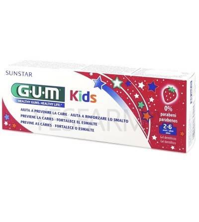 Gum kids gel dentífrico niños 2-6 años 50ml es una pasta de dientes para niños anti caries con flúor.