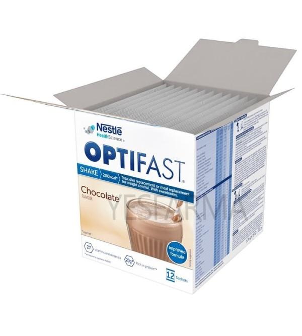 Optifast batidos de chocolate 12 sobres son unos batidos que actúan como sustitutivos de comida para dietas o control de peso.