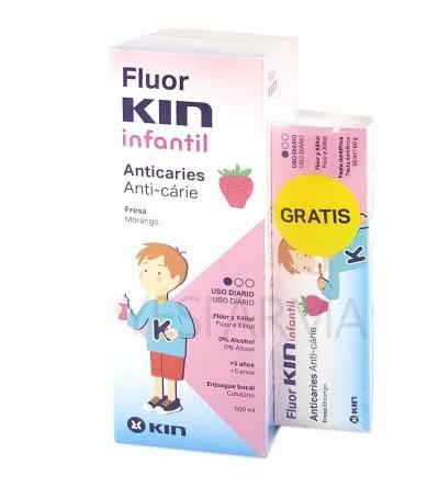 Flúor Kin infantil colutorio fresa es un ejuague bucal para niños con flúor, anti Caries y protege el esmalte.