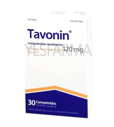 Comprar Tavonin 120mg extracto de Ginkgo Biloba EGb 761 30 comprimidos para mejorar microcirculación, vértigos y tinnitus.