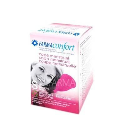 Copa menstrual Farmaconfort para recoger y acumular el flujo menstrual. Copa menstrual comprar Yesfarma.