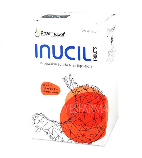 Comprar Inucil 30 tabletas Pharmasor para reducir hinchazón de estómago y digestiones pesadas. Mejor precio barato Yesfarma.