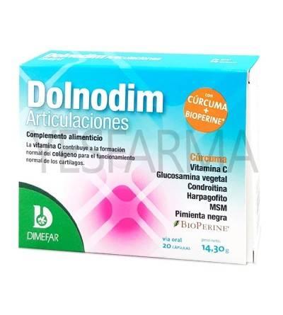 Comprar Dolnodim articulaciones 20 cápsulas Dimefar. Reducir dolor articulaciones de forma natural. Mejor precio barato Yesfarma