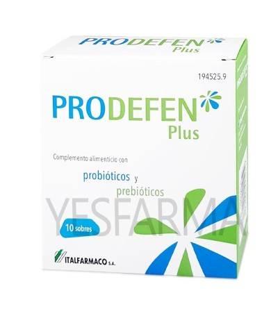Comprar Prodefen Plus 10 sobres. Probióticos y prebióticos para adultos y niños. Mejor precio Yesfarma.