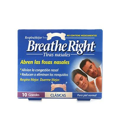 Breathe Right tiras nasales talla grande 10 unidades