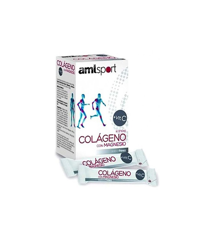 Amlsport Colágeno con Magnesio y Vitamina C sabor fresa 20 sticks