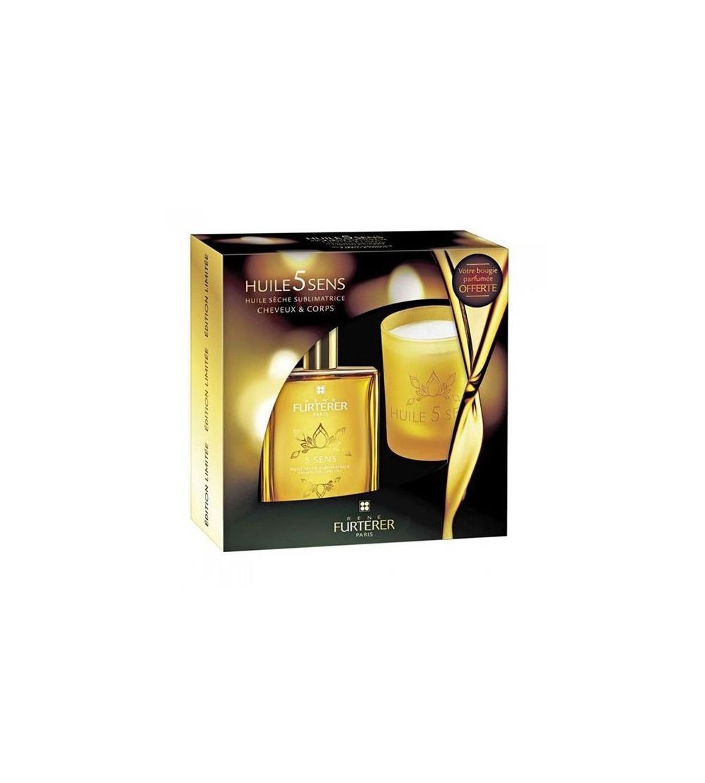 5 Sens René Furterer aceite seco sublimador cabello y cuerpo 100 ml Regalo vela