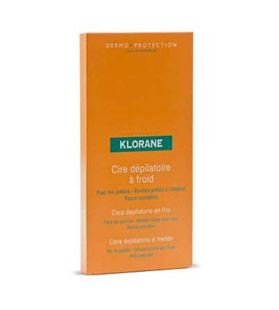 Cera fría depilatoria Klorane para piernas 6 bandas
